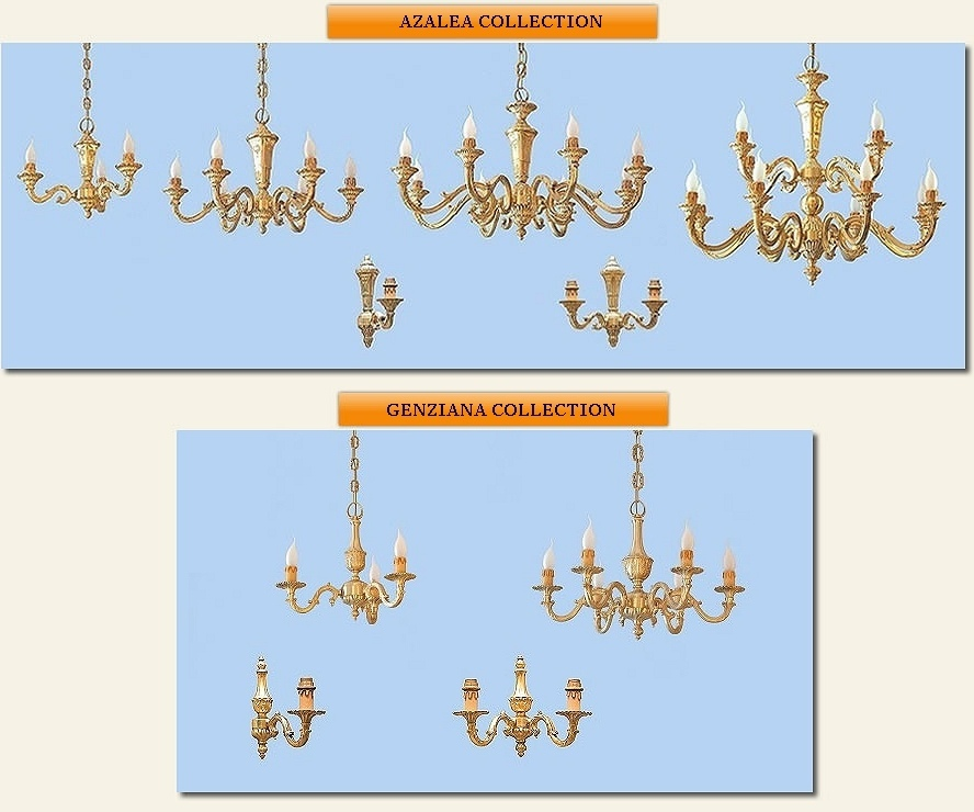 classic brass chandeliers made in Italy