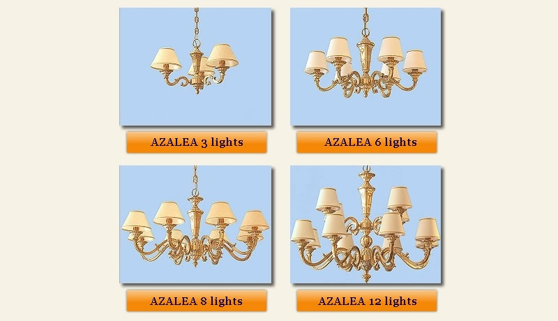 classic brass chandeliers Azalea collection