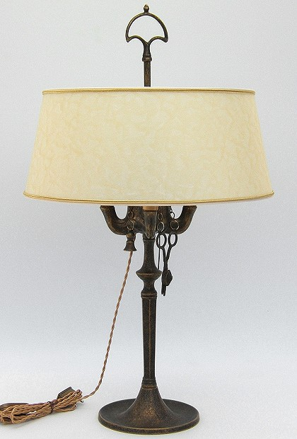 Florentine Large oil lamp antiqued with lampshade made of parchment
