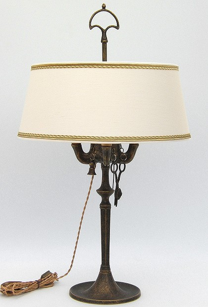 Florentine Large oil lamp antiqued with lampshade made of Shantung