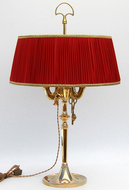 Florentine Large oil lamp polished with red plissè lampshade