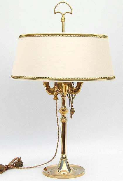 Florentine Large oil lamp polished with lampshade made of Shantung