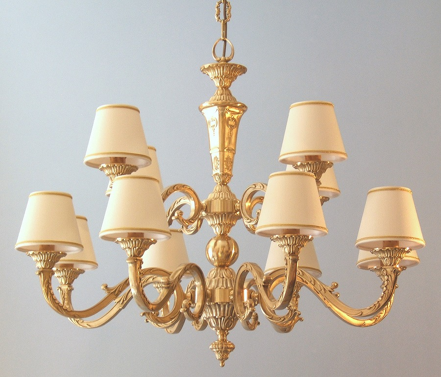 classic brass chandelier Azalea 12 lights with small lampshades