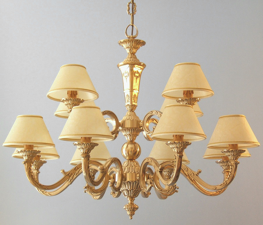 classic brass chandelier Azalea 12 lights with large lampshades