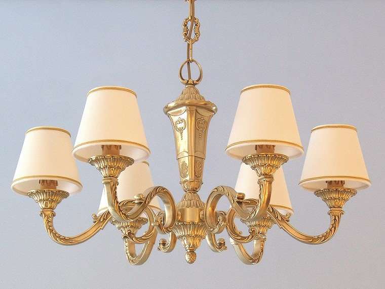 classic brass chandelier Azalea 6 lights with small lampshades