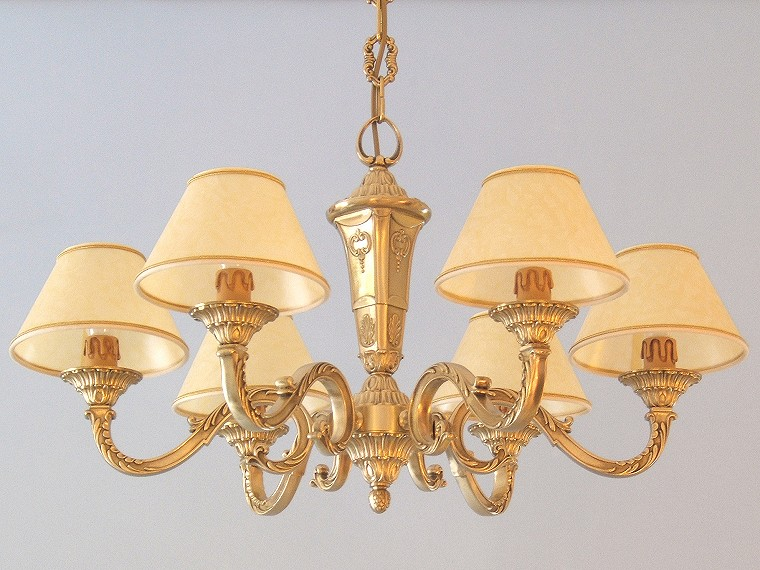 classic brass chandelier Azalea 6 lights with large lampshades