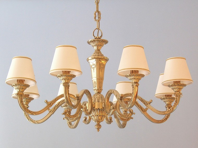classic brass chandelier Azalea 8 lights with small lampshades
