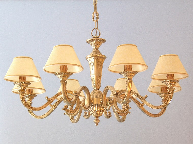 classic brass chandelier Azalea 8 lights with large lampshades