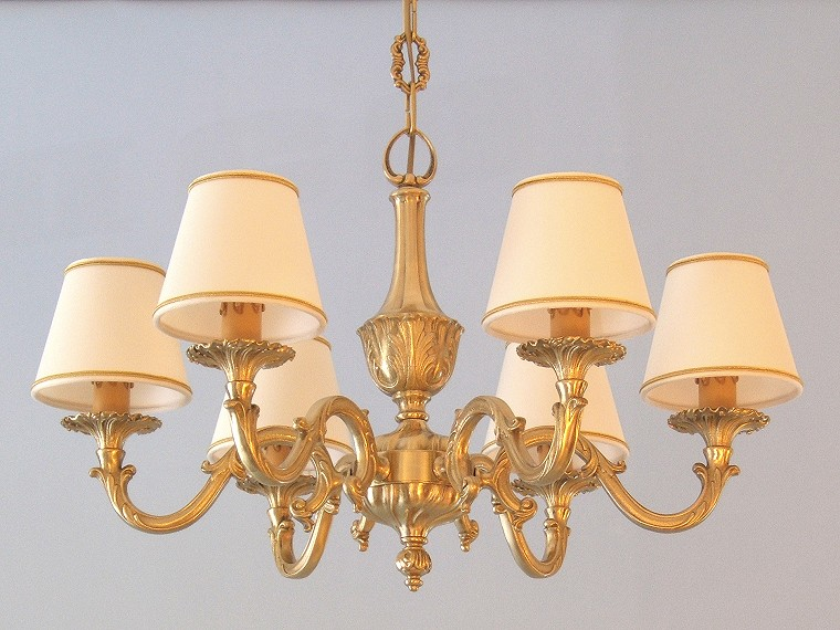 classic brass chandelier Genziana 6 lights with small lampshades
