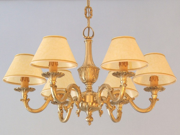 classic brass chandelier Genziana 6 lights with large lampshades