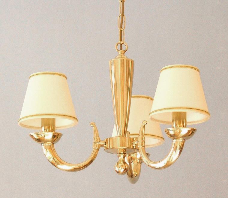 modern brass chandelier Goccia 3 lights with small lampshades