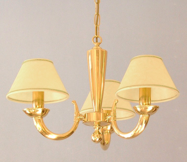 modern brass chandelier Goccia 3 lights with large lampshades