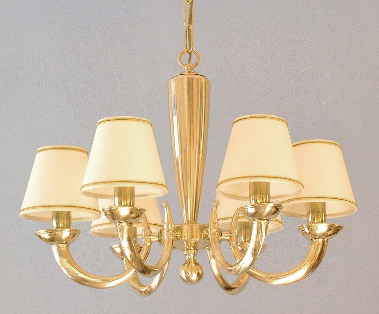 modern brass chandelier Goccia 6 lights with small lampshades