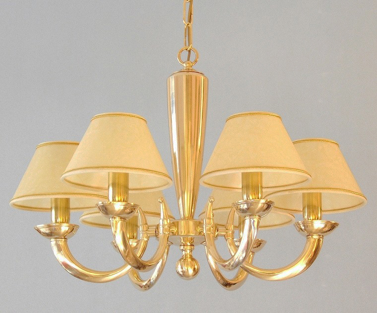 modern brass chandelier Goccia 6 lights with large lampshades